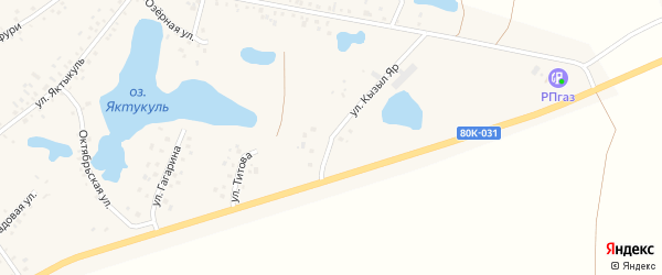 Улица КызылЯр на карте деревни Сахаево с номерами домов