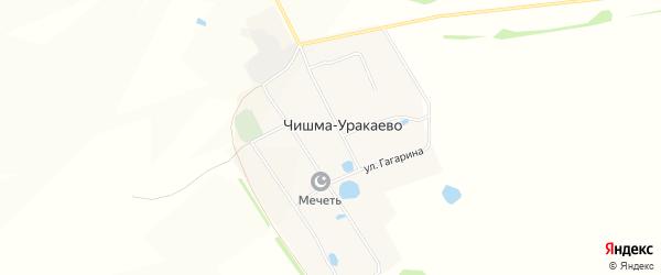 Карта деревни Чишма-Уракаево в Башкортостане с улицами и номерами домов
