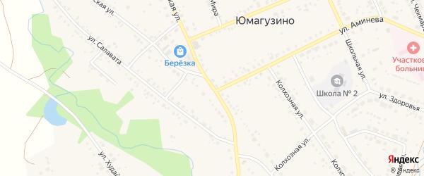 Советская улица на карте села Юмагузино с номерами домов