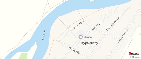 Улица Агидель на карте села Курмантау с номерами домов