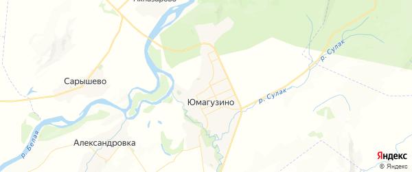 Карта Юмагузинского сельсовета республики Башкортостан с районами, улицами и номерами домов
