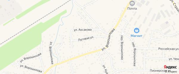 Луговая улица на карте села Иглино с номерами домов