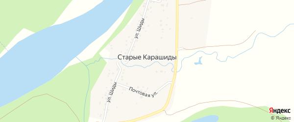 Полевая улица на карте деревни Старые Карашиды с номерами домов