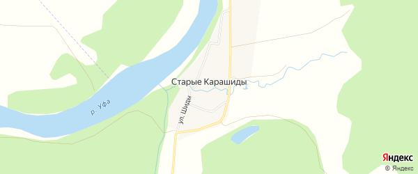 Карта деревни Старые Карашиды в Башкортостане с улицами и номерами домов