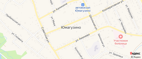 Улица Улутуп на карте села Юмагузино с номерами домов