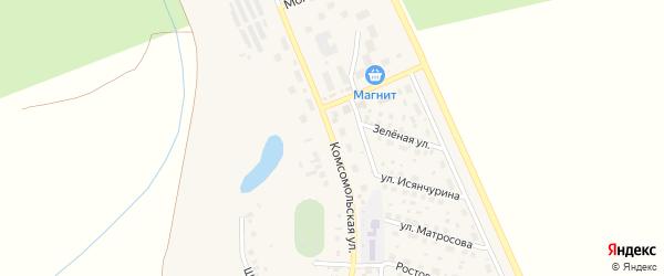 Комсомольская улица на карте села Юмагузино с номерами домов