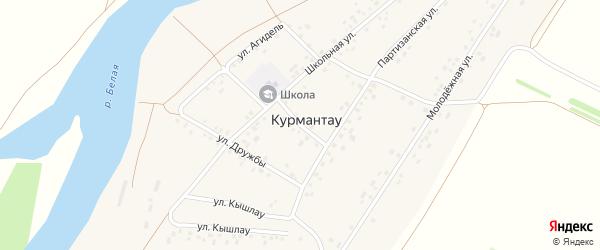 Центральная улица на карте села Курмантау с номерами домов