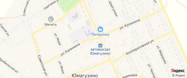 Улица Калинина на карте села Юмагузино с номерами домов