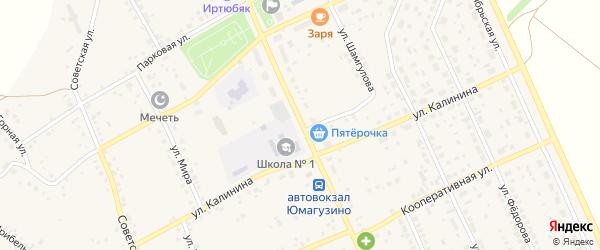 Школьная улица на карте села Юмагузино с номерами домов