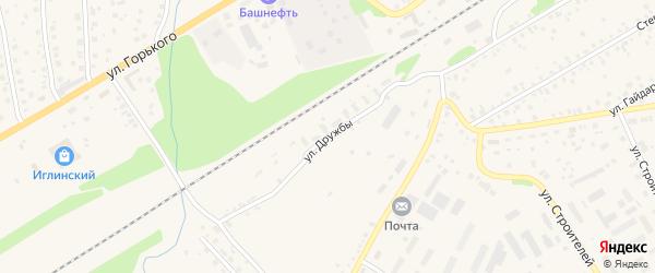Улица Дружбы на карте села Иглино с номерами домов