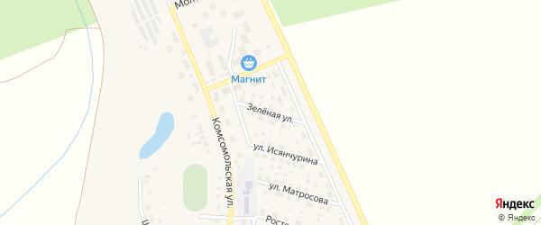 Зеленая улица на карте села Юмагузино с номерами домов