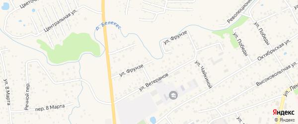 Улица Фрунзе на карте села Иглино с номерами домов