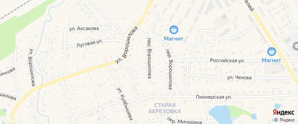 Переулок Ворошилова на карте села Иглино с номерами домов