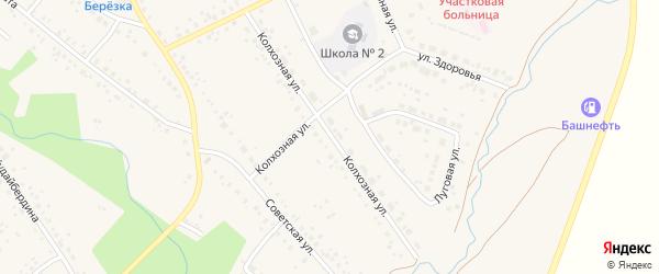 Колхозная улица на карте села Юмагузино с номерами домов