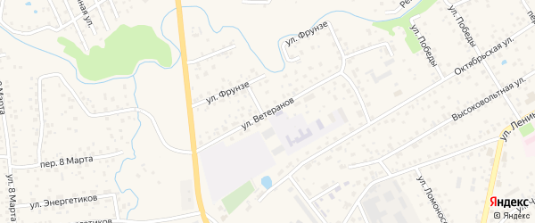 Улица Ветеранов на карте села Иглино с номерами домов