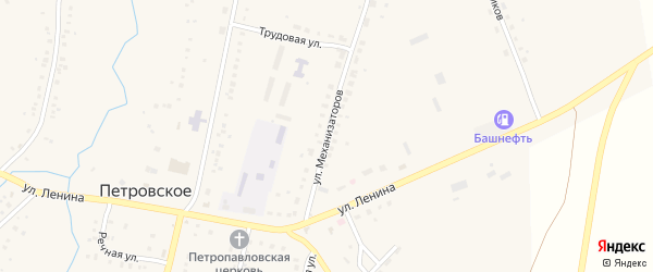 Улица Механизаторов на карте Петровского села с номерами домов