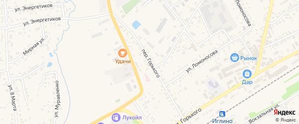 Переулок Горького на карте села Иглино с номерами домов