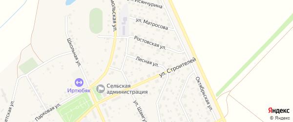 Лесная улица на карте села Юмагузино с номерами домов