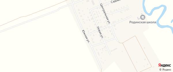 Южная улица на карте села Родиной с номерами домов