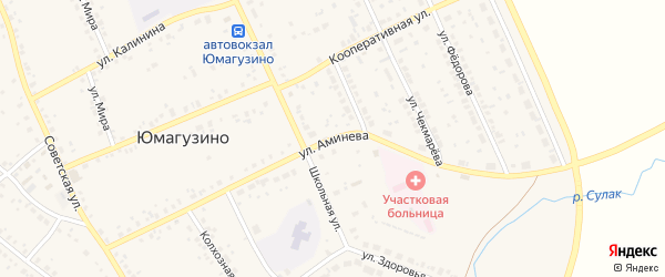 Улица Аминева на карте села Юмагузино с номерами домов