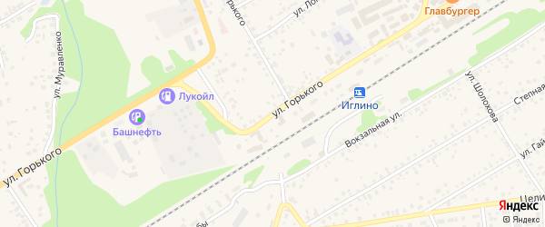 Улица Горького на карте села Иглино с номерами домов