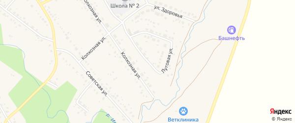 Луговая улица на карте села Юмагузино с номерами домов