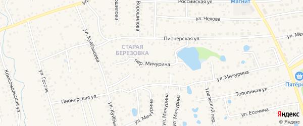 Переулок Мичурина на карте села Иглино с номерами домов