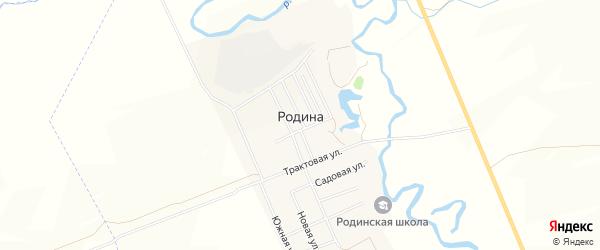 Карта села Родиной в Башкортостане с улицами и номерами домов