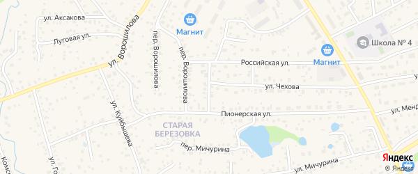 Российский переулок на карте села Иглино с номерами домов