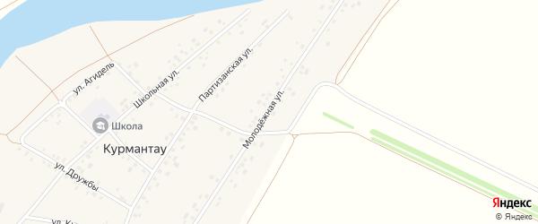 Молодежная улица на карте села Курмантау с номерами домов