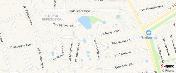 Улица Мичурина на карте села Иглино с номерами домов