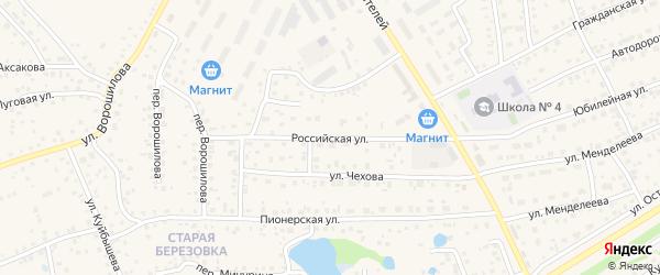 Российская улица на карте села Иглино с номерами домов