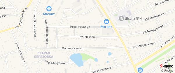 Улица Чехова на карте села Иглино с номерами домов