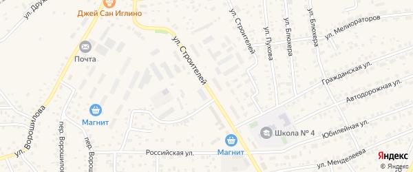 Улица Строителей на карте села Иглино с номерами домов