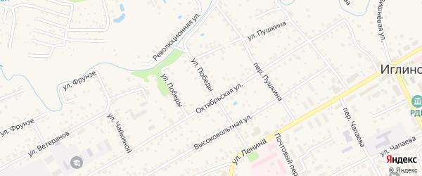 Улица Победы на карте села Иглино с номерами домов