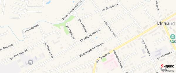 Октябрьская улица на карте села Иглино с номерами домов