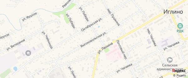 Высоковольтная улица на карте села Иглино с номерами домов