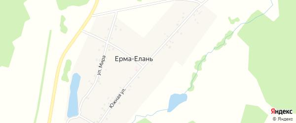 Южная улица на карте деревни Ерма-Еланя с номерами домов