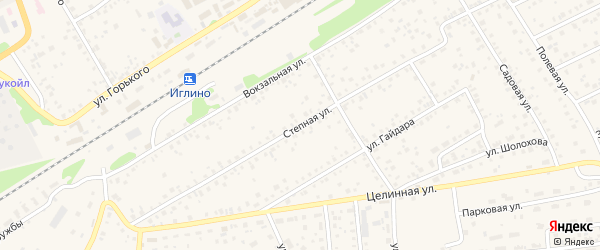 Степная улица на карте села Иглино с номерами домов