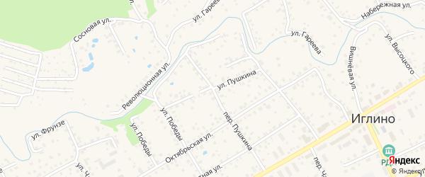 Улица Пушкина на карте села Иглино с номерами домов