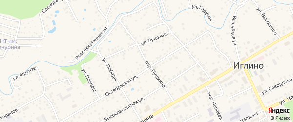 Переулок Пушкина на карте села Иглино с номерами домов