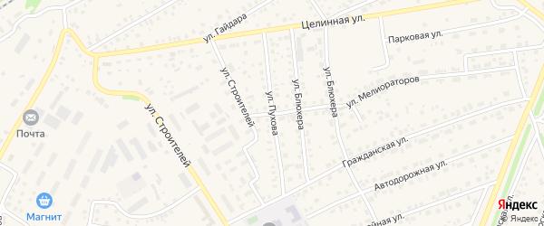 Улица Пухова на карте села Иглино с номерами домов