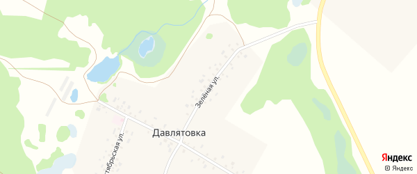 Зеленая улица на карте деревни Давлятовки с номерами домов