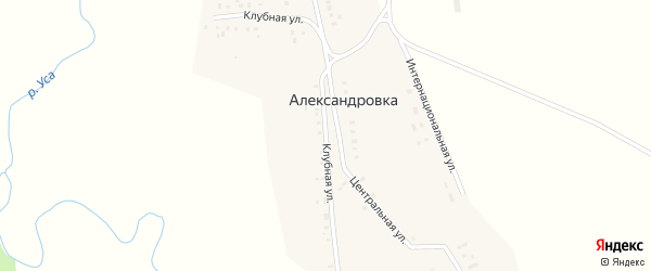 Клубная улица на карте деревни Александровки с номерами домов