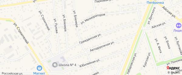 Гражданская улица на карте села Иглино с номерами домов