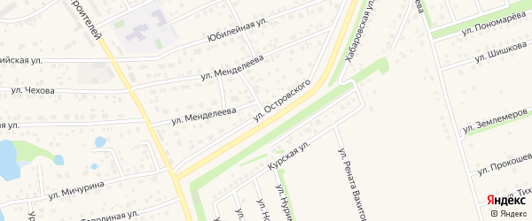 Улица Островского на карте села Иглино с номерами домов