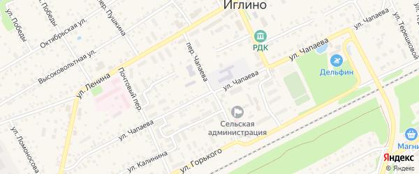 Переулок Чапаева на карте села Иглино с номерами домов