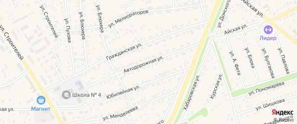Автодорожная улица на карте села Иглино с номерами домов