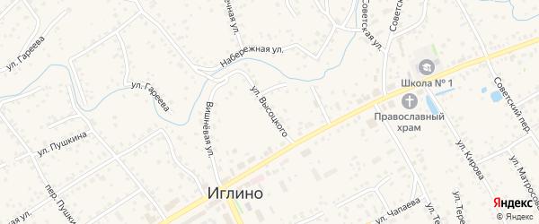 Улица Высоцкого на карте села Иглино с номерами домов