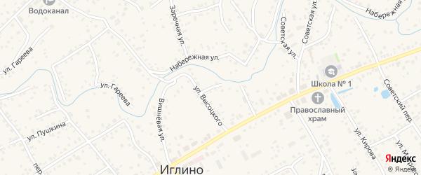 Переулок Высоцкого на карте села Иглино с номерами домов